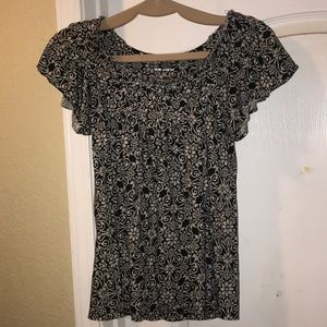 Black and white pattern blouse